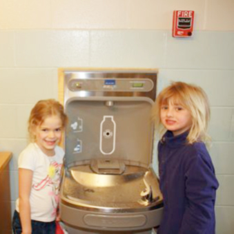 Warren School's new water bottle filling station.