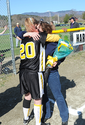 A tribute for former Harwood coach Fred LaRock took place at the opening of the Harwood girl's softball game. on April 25. Photo: Gordon Miller