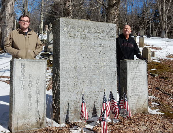 In February, father and son, Thomas A. Mehuron, posed for this picture at the Fayston Civil War Monument. Current storeowner Tom is the great-great grandson of Allen Ebenezer and grandson of Elmer.