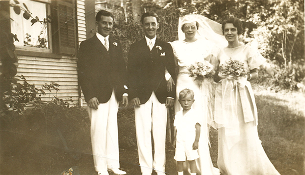 Allen Mehuron at 2 years old at his Aunt Ruth's July wedding in 1934. He is pictured with groom Jimmy McGill and bride Ruth Mehuron.