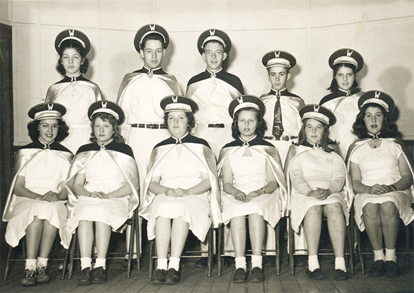 Allen Mehuron is center in back row. He played contrabass saxophone in the school band.