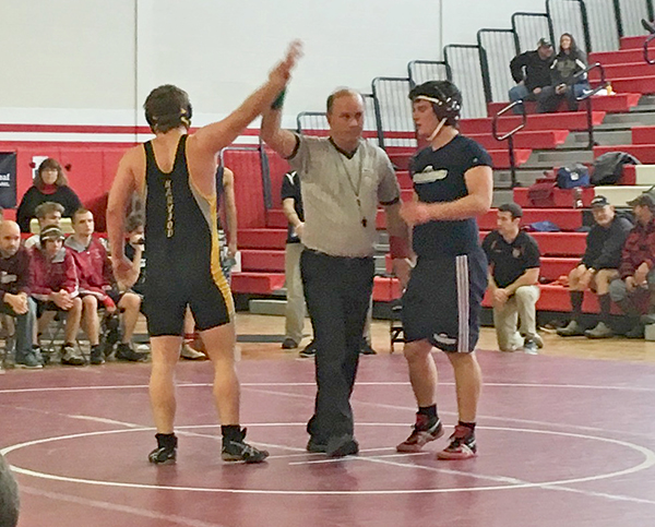 Harwood junior Alick Lord wins against a wrestler from Spaulding. Photo: Danielle Howes