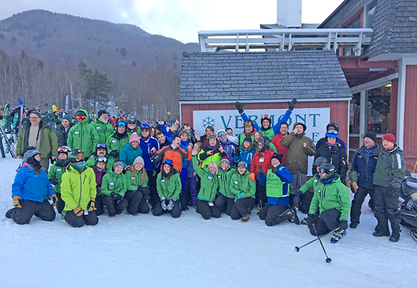 The 2017 Vermont Adaptive Ski and Sports/Sugarbush Special Olympics Alpine Race Team and the Vermont Adaptive volunteer coaches. Chittenden SO team joined in too! Photo courtesy of Ellen Riley.