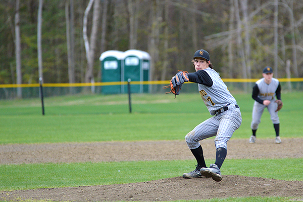 Harwood starting pitcher Ryan Semprebon threw seven innings, allowing only four hits against Montpelier on May 9. Harwood won 8-3. Photo: Chris Keating