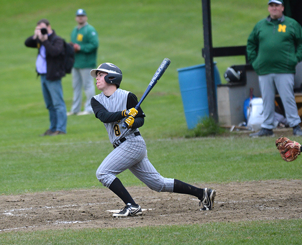 A Harwood batter gets a hit during Harwood's 8-3 win over Montpelier on May 9. Photo: Chris Keating