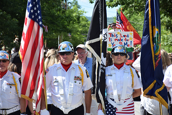 The VFW Color Guard heading up the annual Warren Fourth of July Parade with special guest Vermont Senator Bernie Sanders. Photo: Jeff Knight