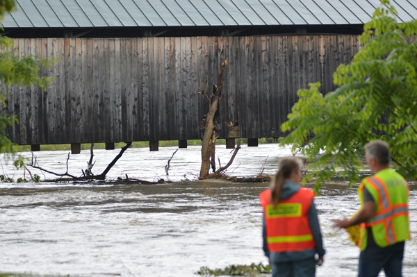 A large tree was washed down the Mad River and impacted and became lodged in the Waitsfield Covered Bridge during flooding in the Mad River Valley July 1, 2017. Photo: Chris Keating