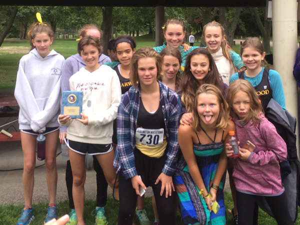 Harwood Union Middle School gorls' cross-country team takes first at Burlington Invitational for the second year in a row.