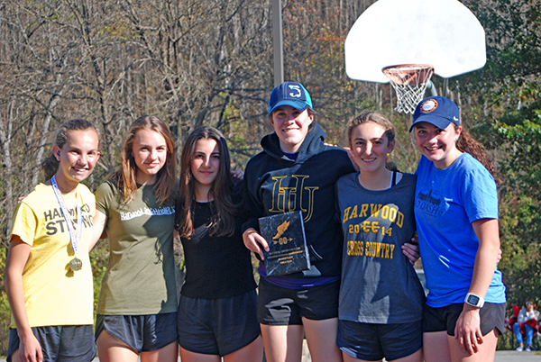 Harwood girls cross country team placed second overall at the NVAC championships. L-R: Julianne Young, Hadley Kielich, Kaia Levey, Isabel Jamieson, Erin Magill, and Jordi Kulis. Photo: Laura Caffry