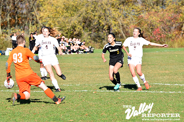 Kaia Cormier scores Harwood's first goal agains Mt. Abe. Harwood lost 3-2 in double-overtime. Photo: Jeff Knight