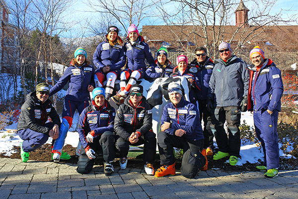 Swiss World Cup women and coaches at train at Sugarbush ahead of races at Killington. Photo: John Atkinson