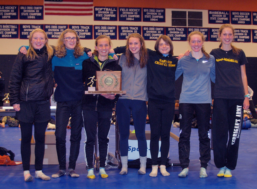Vermont State Champions Division 2 Girls' cross-country Harwood Highlanders. L-R: Caelyn McDonough, Britta Zetterstrom, Julianne Young, Hadley Kielicj, Ava Thurston, and Sarah Kate Smith.