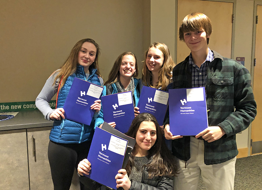 Harwood students Kaia Levey, Hadley Kleitch, Winter Haberle, Katie Rush and Maddy Cheney led a session at the Vermont Council for the Humanities Conference on Saturday, November 17, in Burlington.