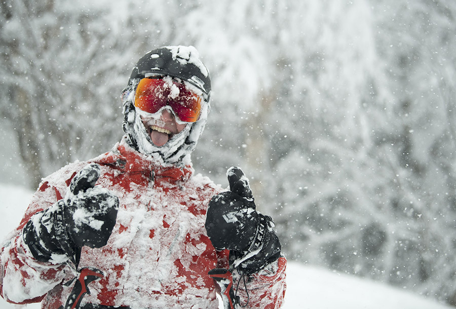 Parker Herlihy is all smiles after sampling the powder at Mad River Glen on November 28 after a two-day storm reopened the mountain with 24 inches of snow. Photo: Brooks Curran