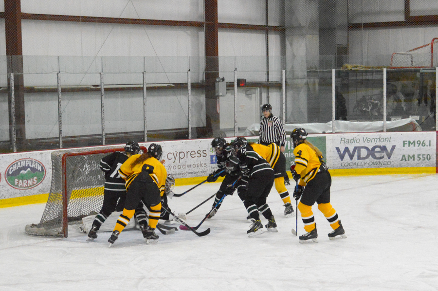 The Harwood girls' hockey team's first scrimmage of the season against Stowe. Photo: Katie Martin