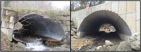 The replaced culvert, prior to 2012 and after replacement in 2015