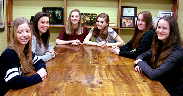 Regional winners of the Verizon Innovative App Challenge, from left to right: Olivia Reiskin, Lili Platt, Lily Carleu, Amelia Allen, Sarah Sinnott and Amelia Tarno. Photo: Tracy Brannstrom