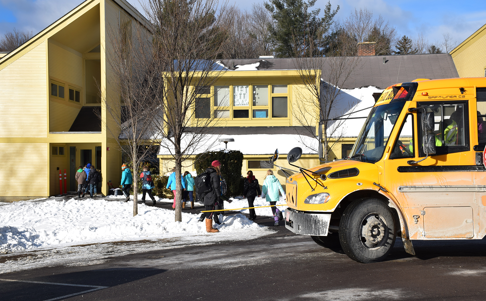 Warren Elementary School kids returning to school after a bomb scare on Friday, January 22, 2016. Kids were sheltered at the Warren Town Hall while Vermont State Police cleared the building. More information as it becomes available. Photo: Jeff Knight