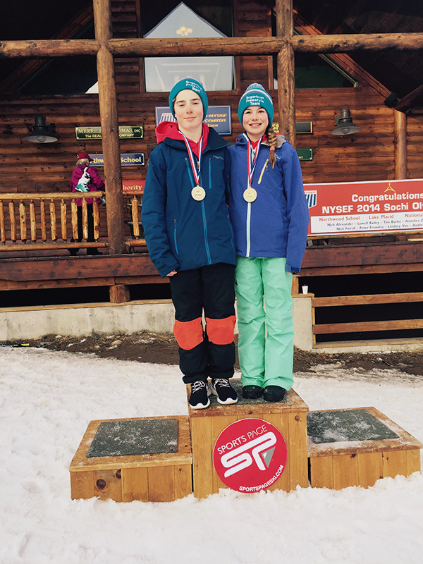 "Sugarbush skiers Cooper Whalen, left, and Sabrina Cass medaled in the Eastern Freestyle Central States ""B"" Mogul and Slopestyle Championship at Whiteface Mountain, New York."