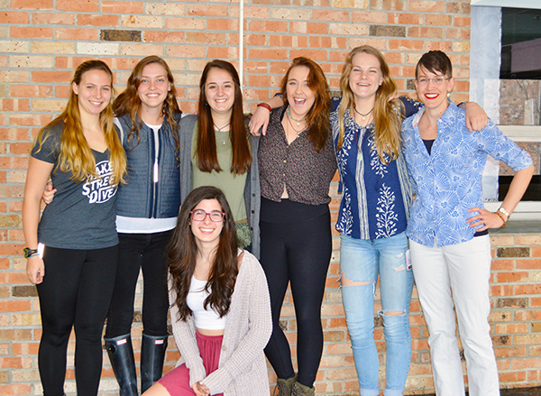 Harwood students and faculty after their trip to Rwanda, from left to right: Aenea Mead, Maya Kalkstein, Julia Louer, Nina Sklar, Bella Harris, teacher and trip supervisor Tedin Lange and Eve Golden (bottom).