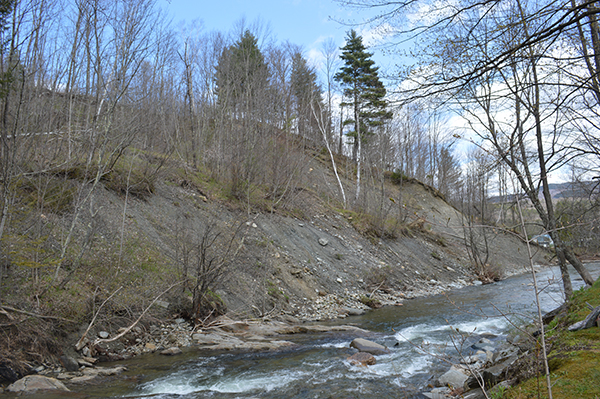 Erosion along the Mill Brook in Fayston. Photo: Lisa Loomis