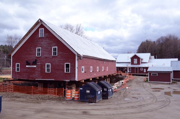 The barn at Lareau Farm and American Flatbread in Waitsfield has been raised to repair and upgrade the foundation. Photo: Jesse Lavoie