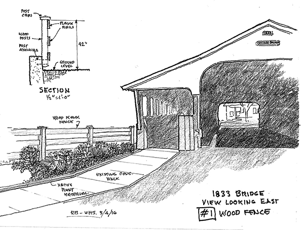 Sketch of proposed wooden railings for Waitsfield Covered Bridge.