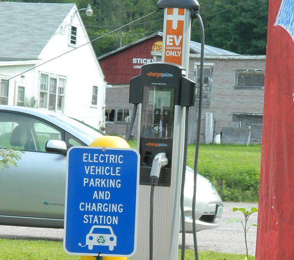 An electronic vehicle charging station at Red Hen in Middlesex.