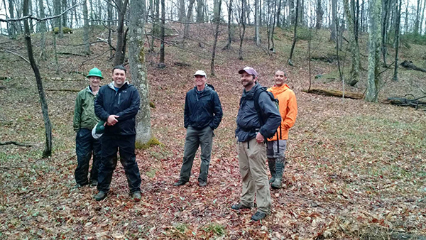 Waitsfield Conservation Commission members tour Scrag Mountain.