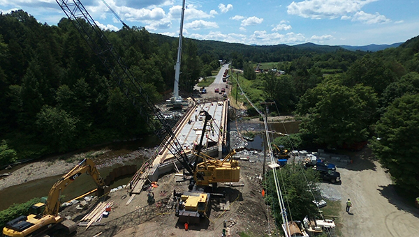 Robert Peters took this drone photo of the bridge work at the Lareau Bridge in Waitsfield.