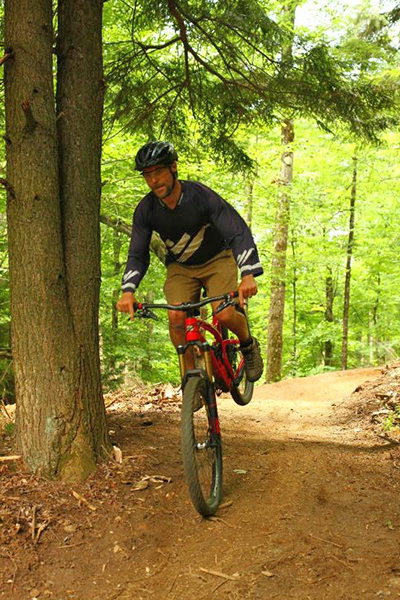"Riding on Sugarbush's new ""Evolution"" trail. The trail will open for the VMB Festival July 22-24. Photo: John Atkinson"