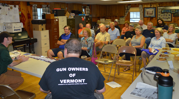 Valley chapter of Gun Owners of Vermont meets candidates for state representative. Photo: Chris Keating