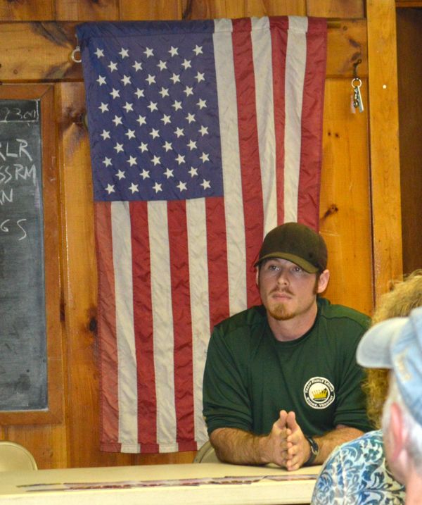 Jake Sallerson at a meeting of the Gun Owners of Vermont Valley Chapter meeting. Photo: Chris Keating