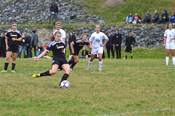 Harwood player takes a shot during Harwood versus GMVS women's soccer. Photo: Chris Keating