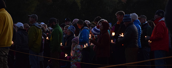 Mourners at candle lite vigil. Photo: Jeff Knight
