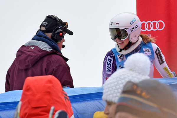 Hannah Utter speaks with a race official after forerunning the Killington World Cup. Photo: Jeff Knight