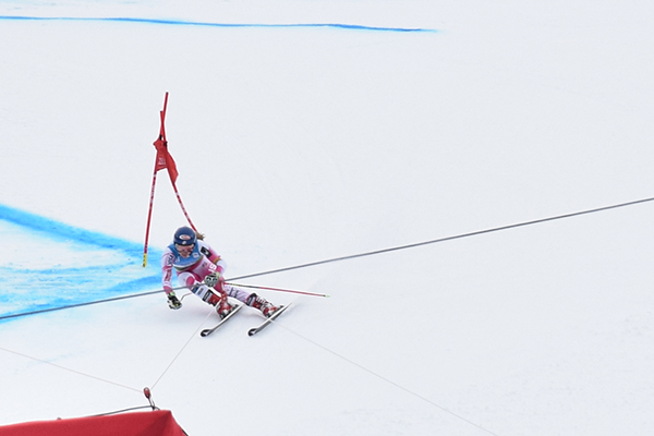 Mikaela Shiffrin races Giant Slalom at Killington World Cup. Photo: Jeff Knight