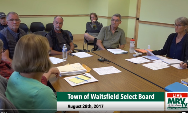 Members of the Waitsfield Water Commission came to the Waitsfield Select Board August 28, 2017 to discuss costs incurred after a state contractor broke the water system main in 2014. The state refused to pay the whole amount leaving the town on the hook for the remaining amount. Photo courtesy MRVTV