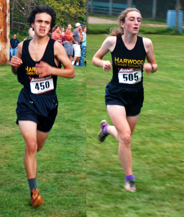 Harwood's Daniel Bevacqui,left, had a third place finish and Erin Magill,right, placed third for the girls at Montpelier. Photos: Laura Caffry