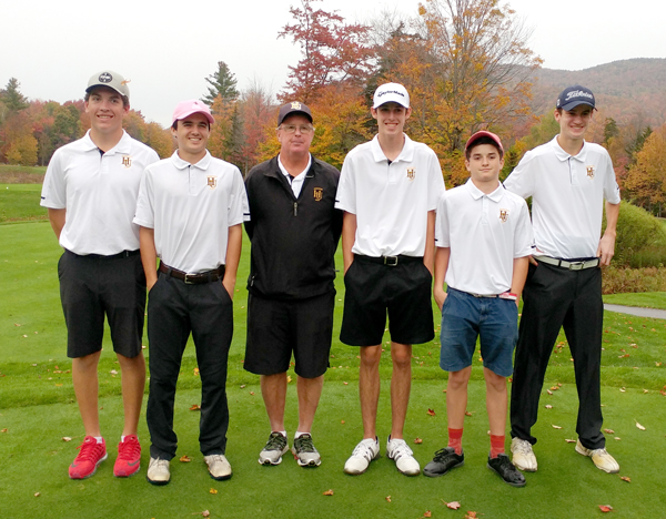 The Harwood Union boys' golf team, from left to right, Ian Groom, Aidan Melville, coach Brian McCarthy, Ivan Morse, Brian Gilhuly and Nate Honeywell, won Vermont's Division II State Championship at Green Mountain National Golf Course in Killington on Wednesday, October 11. Photo courtesy of Brian McCarthy.
