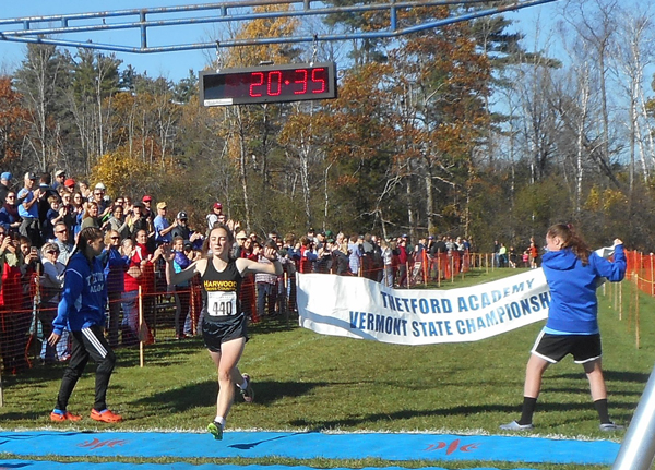 Harwood's Erin Magill was the girls' cross country Division II winner at the Vermont State Championships on October 28, for the second year in a row. Photo: Laura Caffry