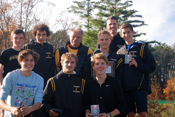 Varsity boys' Division II second-place team. Back row: assistant coach Andrew Reid. Middle row: Brendan Magill, Daniel Bevacqui, coach John Kerrigan, Anthony Palmerio, Walker Caffry Randall. Front row: Jesse Bisbee, Seth Beard and Luke Groom. Photo: Laura Caffry