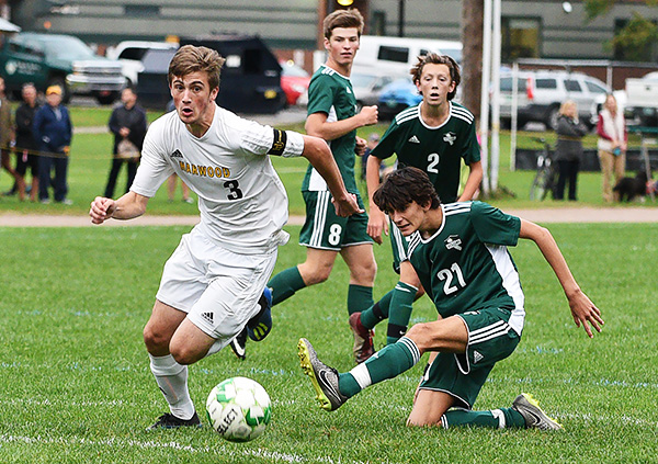 Harwood's Will Lapointe scored in the first 13 minutes of a game against Montpelier. The Highlanders went on to defeat Montpelier 5-0. Photo: Gordon Miller