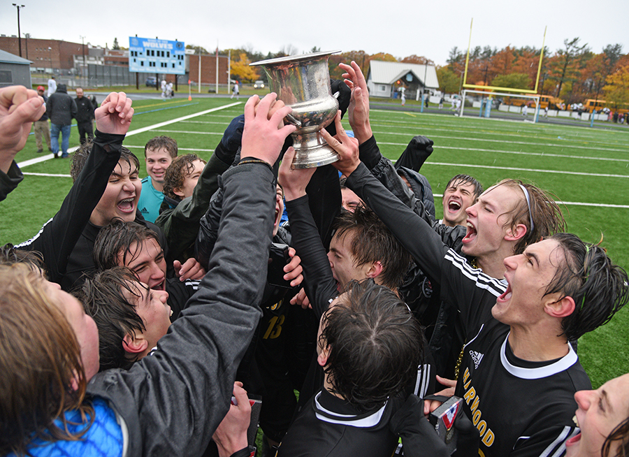 Harwood boys' soccer team won the Division II Vermont State Championships with a win over Woodstock on Saturday, November 3. Photo: Gordon Miller