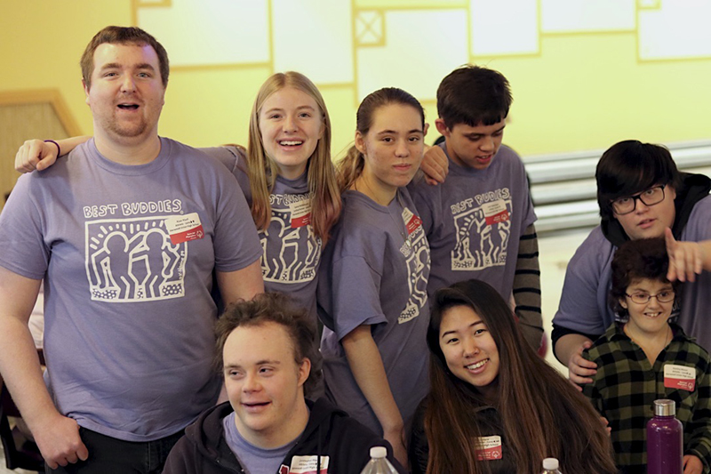 Athletes from Harwood Best Buddies represented Harwood at the Special Olympics Unified Sports® bowling competition on December 17, 2018. Clockwise from top left: River Ploof, Caelyn McDonough, Melanie Wollschlager, Josh Wollschlager, Max Chapin, Destiny Mason, Chloe Lavigne and Chris Riley. Photo credit: Chloe Lavigne