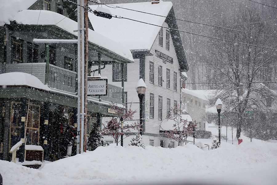 Bridge Street in Waitsfield, VT with a fresh blanket of snow from storm Harper. Photo: Jeff Knight