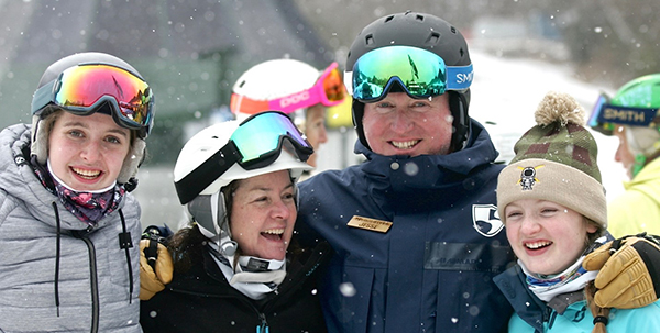 The Murphy family was all smiles as the snow piled up at the 2018 High Fives Foundation Fat Ski-a-thon.