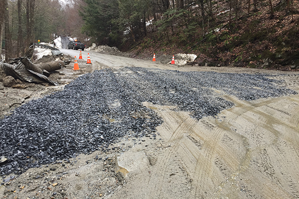 Camels Hump Rd aftermath, photo by Jonathan DeLaBruere