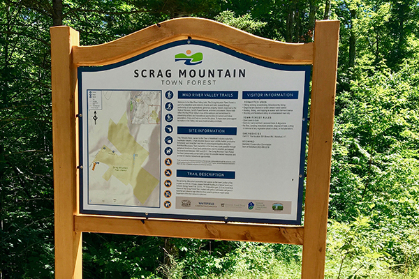 This trailhead kiosk at Scrag Mountain Town Forest in Waitsfield is among those that have been installed as part of a local effort to create unified trail maps for The Valley.