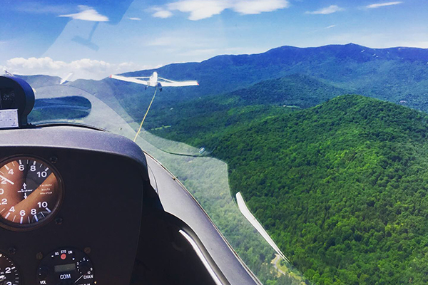 A bird's-eye view of the Mad River Valley during a glider ride with Sugarbush Soaring.